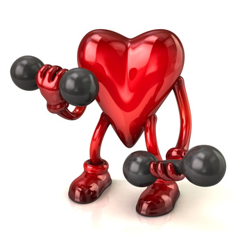 Illustration of heart with dumbbells