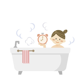 Girl with alarm clock in the bath